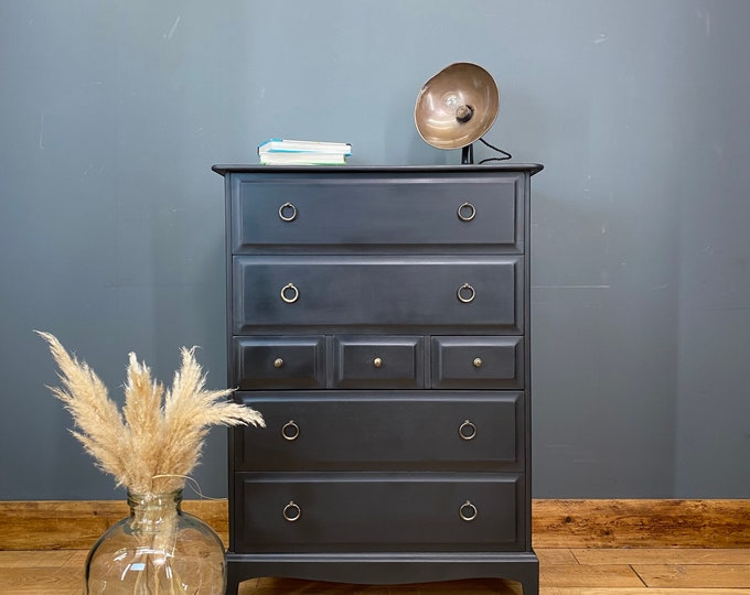 Retro Tall Stag Chest Of Drawers /STAG Drawers / Vintage Bedroom Storage /Black