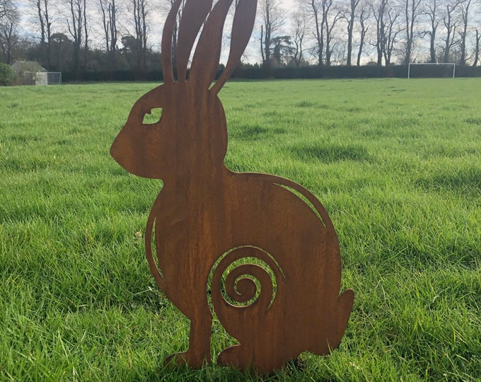 Rusty Metal Garden ornament , SITTING HARE Garden Feature, garden Sign , jumping hare , boxing hare , garden statue , garden decoration
