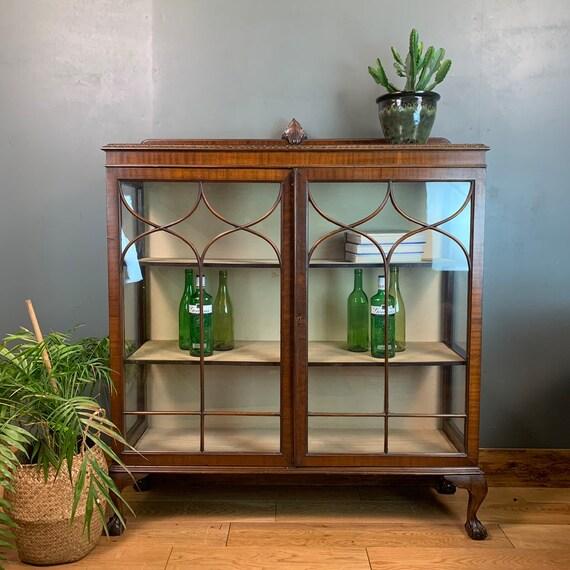 Antique Vintage China Cabinet Rustic Vintage Cocktail Cupboard Glazed