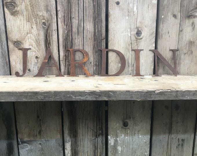 JARDIN SIGN , Rusty metal letters , garden decor , rustic lettering, rusted metal lettering , garden feature , garden ornament