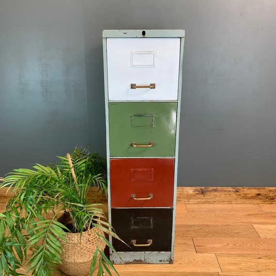 Upcycled Metal Vintage Industrial Shelving Pantry Drawers Filing Cabinet Unit