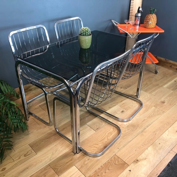 Retro Mid Century Vintage Smoked Glass Tubular Steel Table 4 Bent Chrome Chairs