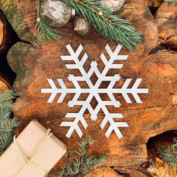 Rustic Shabby Chic White Nordic SNOWFLAKE Sign Metal Shop Christmas decoration