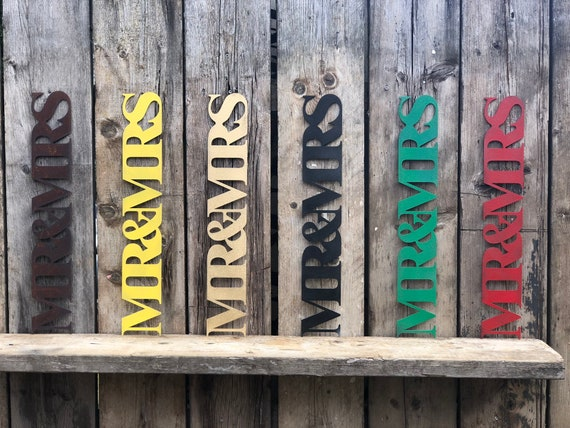 Rustic colourful MR AND MRS sign decoration ornament home & wedding love hope shabby chic
