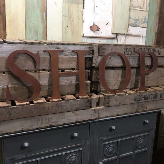 SHOP Rusty metal word letters, shop home sign house cafe, lettering, rusted, industrial, vintage, numbers, food drink