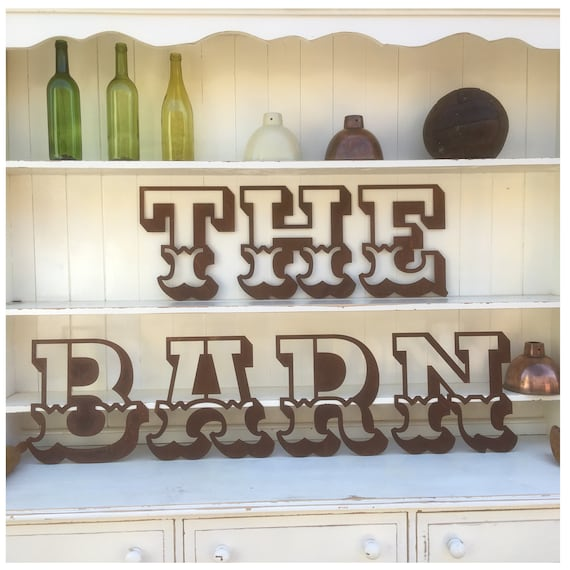 THE BARN Rusty metal word letters, shop home sign house name, lettering, rusted, industrial, vintage, numbers, pub, bbq