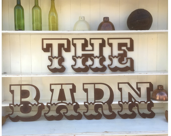 THE BARN Rusty metal word letters , shop home sign , house name , rustic metal lettering , vintage wedding venue decor