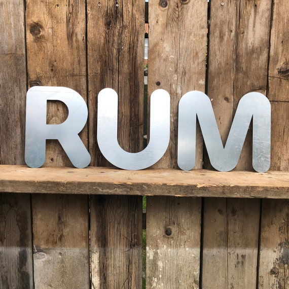 RUM Lettering Letters GALVANIZED Metal Shop Home Bar Sign Rustic Gin Drinks