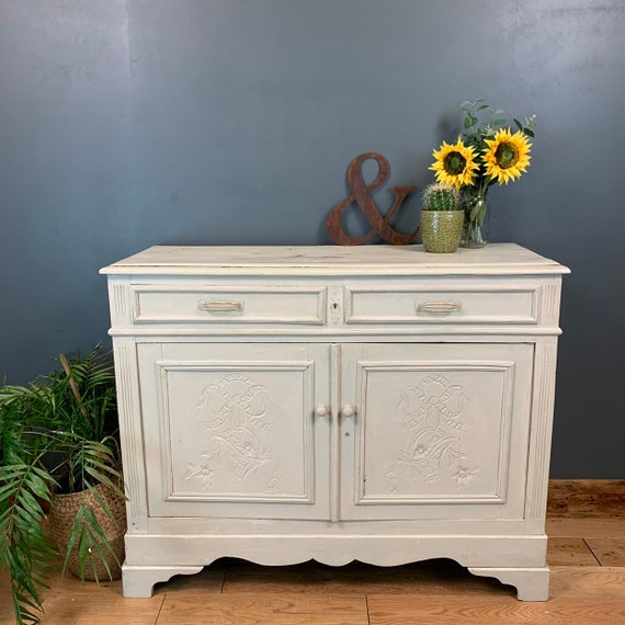 Vintage Cupboard Drawers Sideboard Painted Shabby Chic Rustic French Old Pine