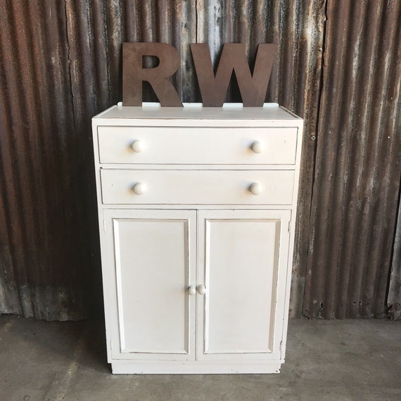 A Vintage Painted Tallboy Cupboard Shelves Storage Shabby Chic Distressed