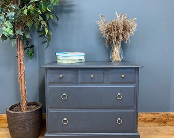 Retro Blue Chest Of Drawers / STAG Drawers / Vintage Bedroom Drawers / Storage