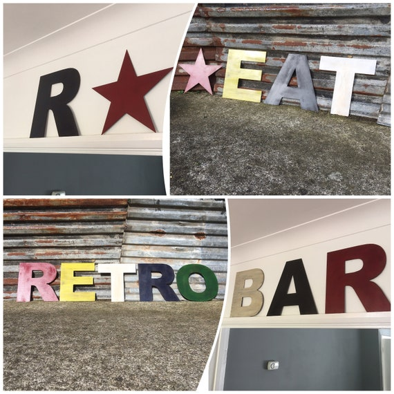 """Rusty 12"""" fat font coloured metal alphabet letters, shop signage, initials, house name, lettering, rusted, eat, numbers, barbers, bar, retro"""