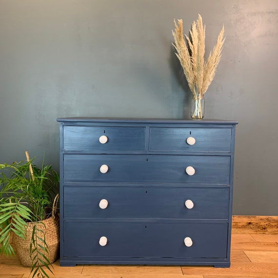 Vintage Upcycled Shabby Chic Oak Chest Of Drawers Painted Navy Blue Boho