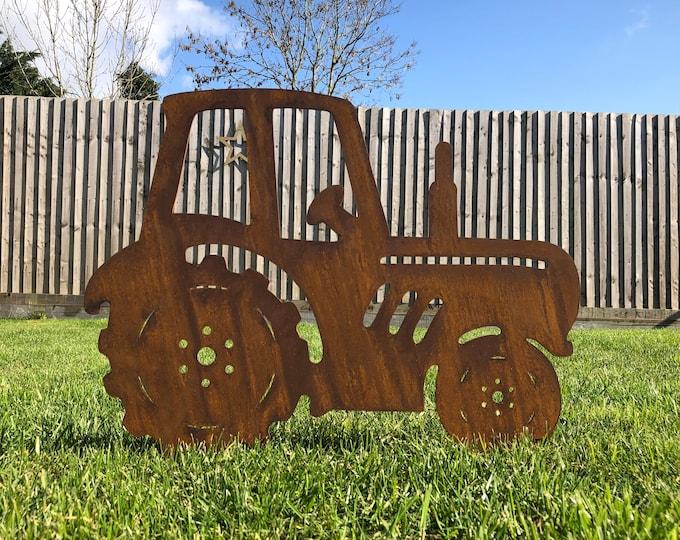Garden tractor / rusty metal tractor / garden lawn decor / garden ornament / garden statue / tractor ornament / garden feature /rustic decor