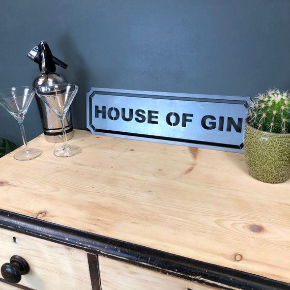 Steel HOUSE OF GIN Word Sign Metal Shop Home Rustic Pub Cafe Bar Cocktail Drinks