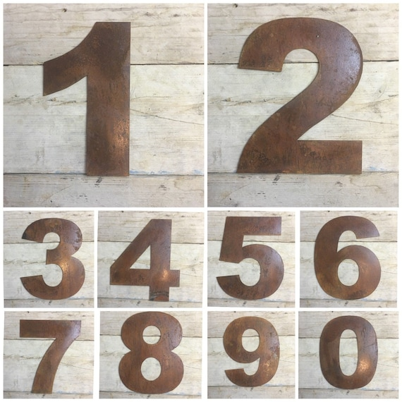 """Large 12"""" Rusty Metal House Numbers signs Plaque Rustic Industrial Sign"""