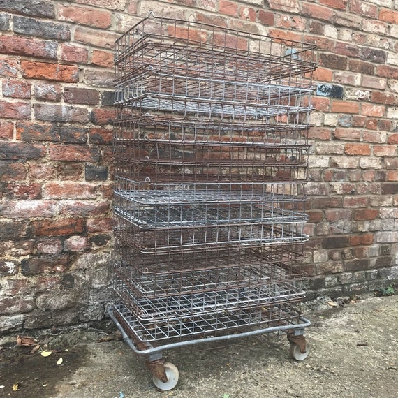 Industrial Baking Trolley Bakers Bakery Racking Vintage Cage Trays Wire Baskets