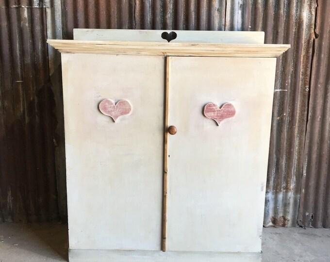 Vintage Cupboard / School Cupboard / painted Furniture / Linen Cupboard / Shabby Chic Cupboard / Shelved Cupboard / Farmhouse Bedroom