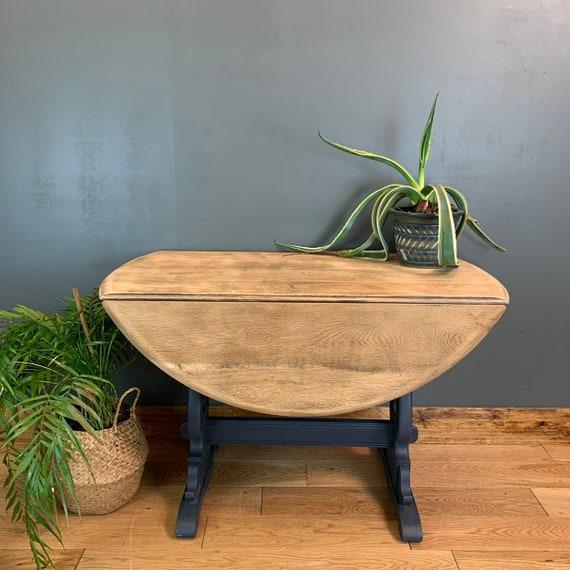 Vintage Retro Round Dining Table Drop Leaf Extending Sideboard Rustic Navy