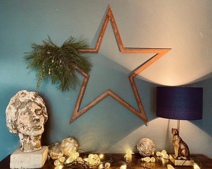Large Rusty Star / Christmas Decorations / Vintage Style Decor / 70cm Metal Star / door wreath / wall wreath
