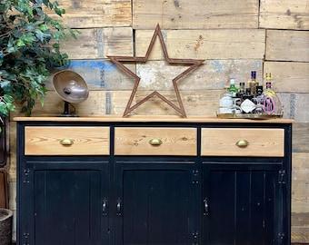 Vintage Black Sideboard /Drinks Cabinet / Rustic Pine Sideboard / Buffet Server