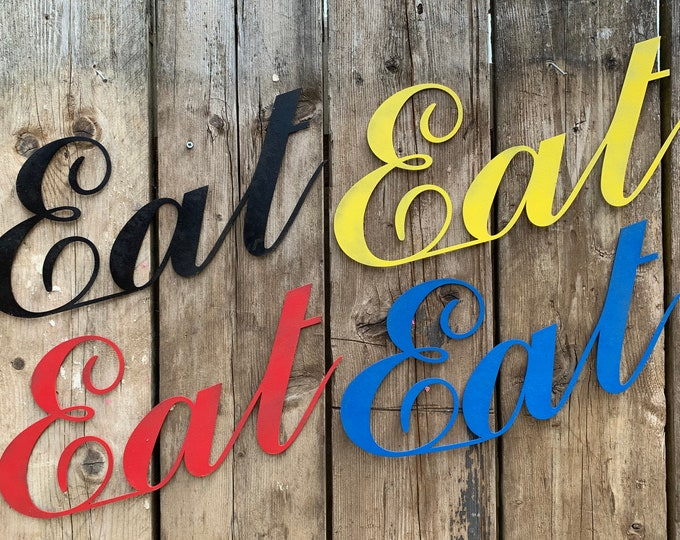 COLOURED EAT SIGN , Rustic Word signs , kitchen signs , house wall decor , novelty gift for a food lover