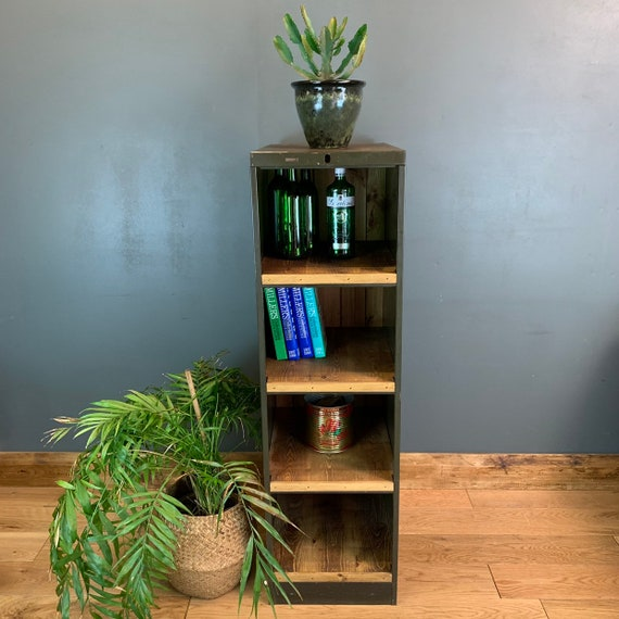 Upcycled Metal Vintage Industrial Shelving Pantry Bookcase Filing Cabinet Unit