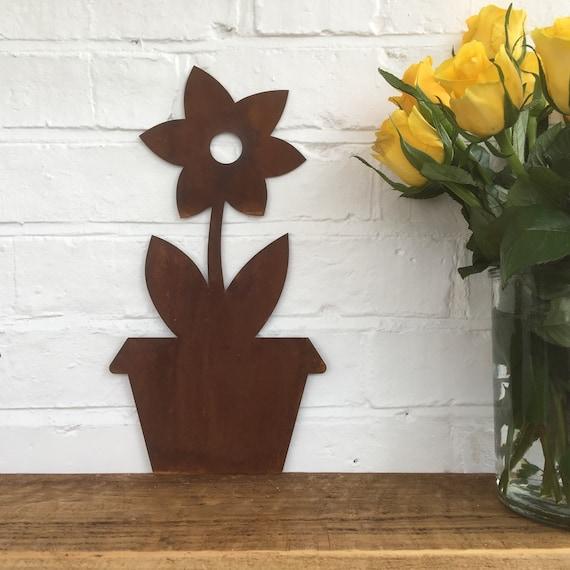 Rustic Metal PLANT FLOWER POT silhouette sign Shop Home garden ornament statue