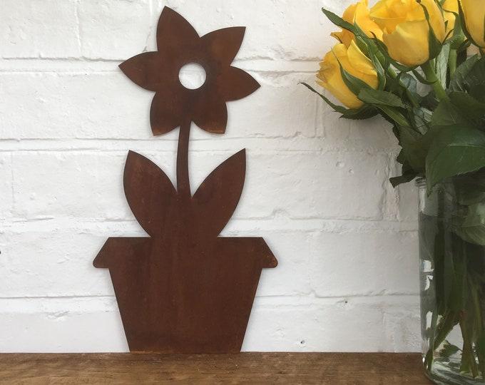 Rusty Metal FLOWER POT silhouette sign  , garden decoration , garden decor , rustic garden gifts , present for a gardener , garden art