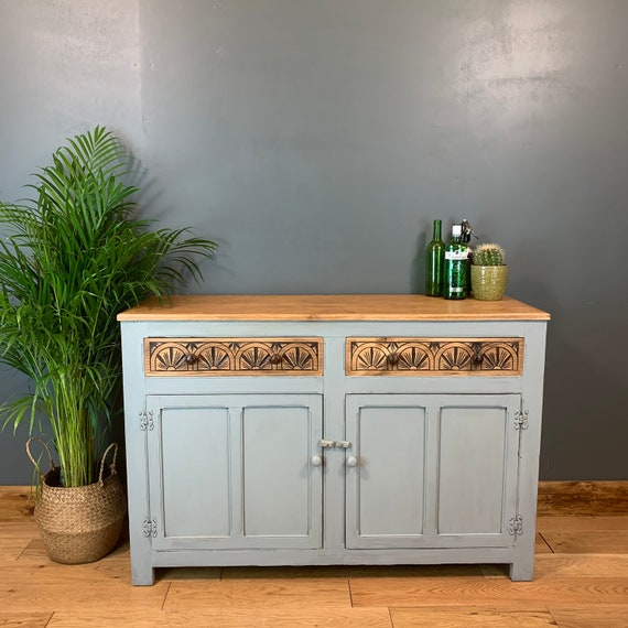 Vintage Painted Upcycled Shabby Chic Sideboard Cabinet Cupboard Rustic Blue/grey