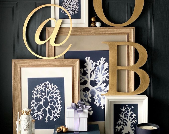 """GOLD LETTERS / Christmas gift for her / Christmas decor / metal lettering / Personalised initials / Christmas present 5"""" or 12"""""""