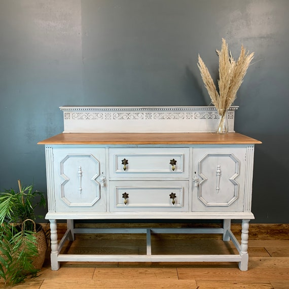 Vintage Painted Upcycled Shabby Chic Sideboard Cabinet Cupboard Off White