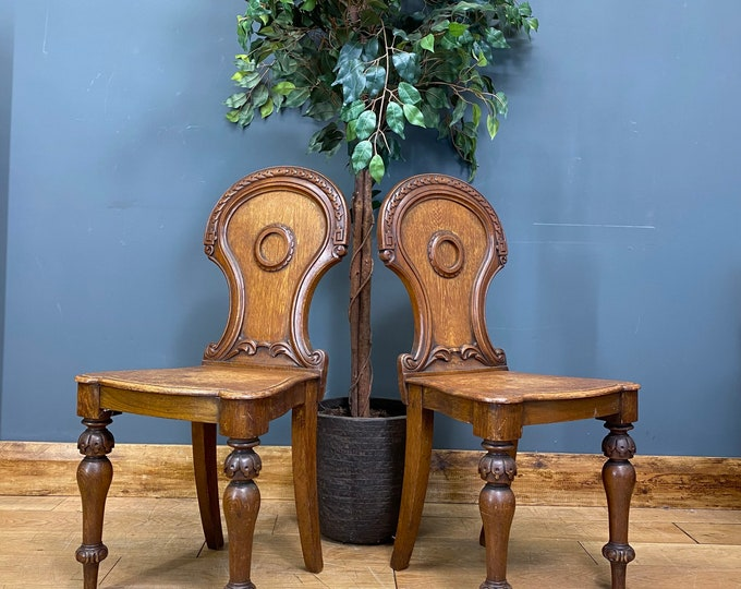 Pair Of Victorian Hall Chairs/ Antique Solid Oak Chairs / Occasional Chairs