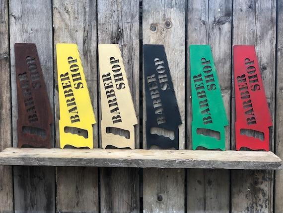 Rustic colourful BARBER SHOP SAW Sign Metal Pub Bar Drinks Tattoo Barbers salon