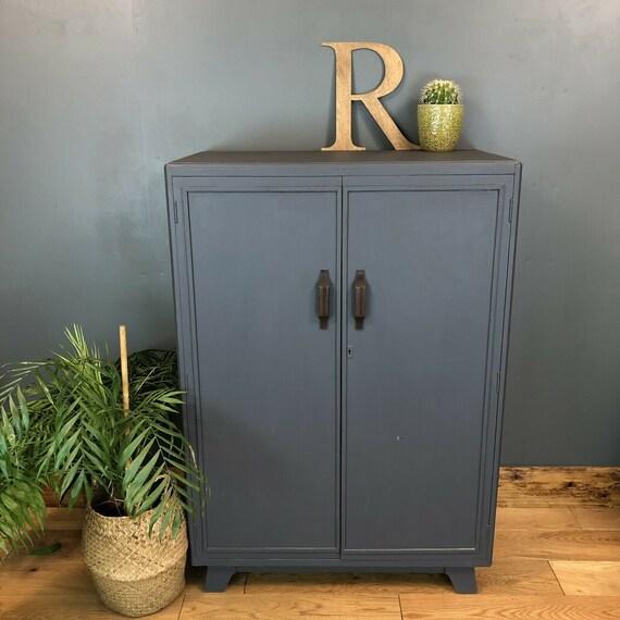 Vintage Painted Upcycled Wardrobe Cupboard Shelves Storage Distressed Blue/grey