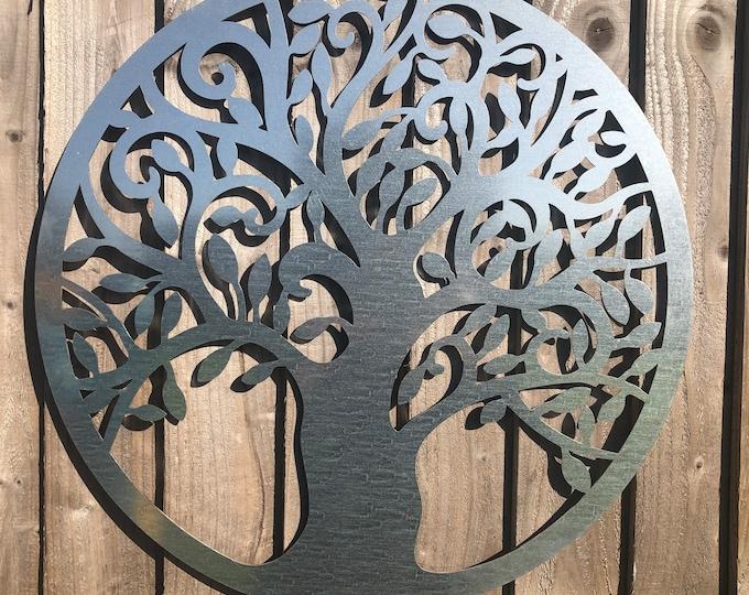 Garden steel TREE OF LIFE garden Sign , silver Metal Garden Ornament  ,  Wall Decoration  , Fence feature , rustic garden decor, patio decor