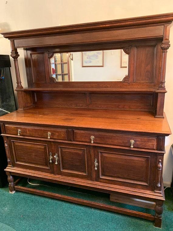 Large Antique Buffet Server Mirrored Oak Cabinet Cupboard Drawers Dresser