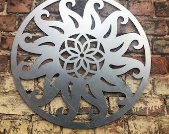 Rustic Steel Sun Sign , Rusty Metal Garden Ornament  ,  Wall Decoration  , Fence feature , rustic garden decor , garden sign ,