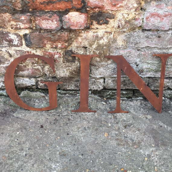 GIN Rusty metal word letters, shop home sign house name, lettering, rusted, industrial, vintage, numbers, pub, barbers