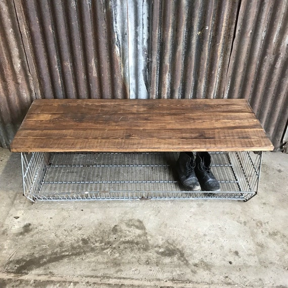 Industrial Metal Galvanised Cage Hall Bench Seat Shoe Storage Factory