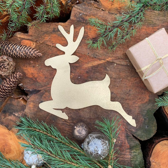 Rustic GOLD REINDEER Christmas deer Sign Metal Plaque Home decoration Nordic Rustic