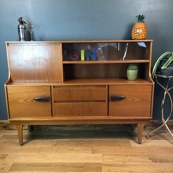 Retro 1960s Sideboard Cocktail Cabinet Credenza  Mid Century Cupboard Unit