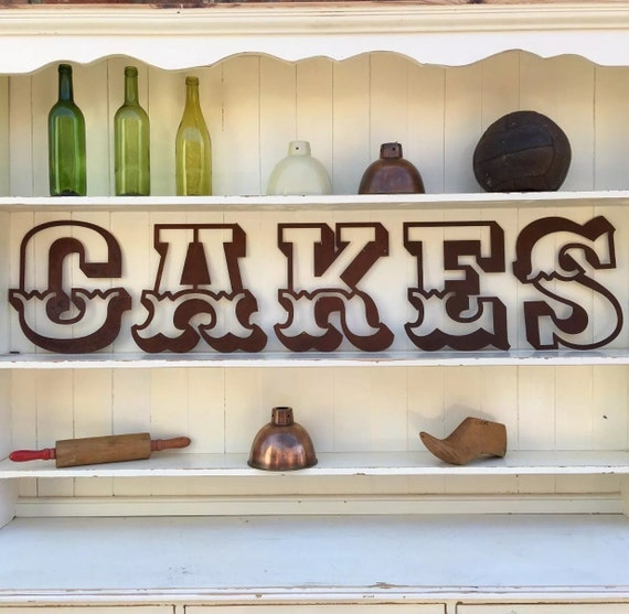 CAKES Rusty metal word letters, shop home sign house name, lettering, rusted, industrial, vintage, numbers, pub, bbq