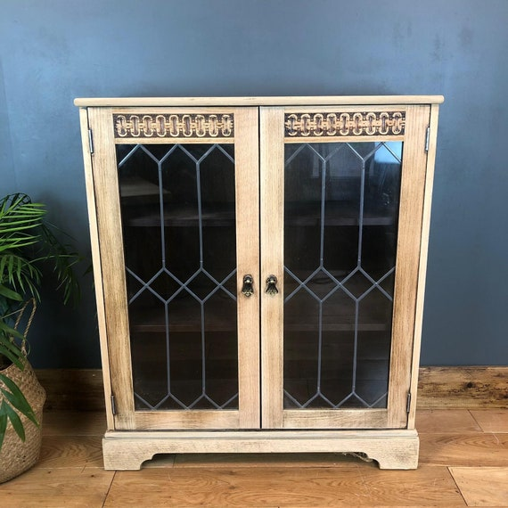 Rustic Vintage Bookcase Shelves Shelving Storage Oak Wooden Unit Glazed Doors