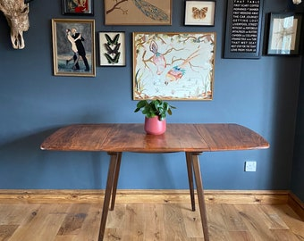 Rare Ercol Table Model 383 /Elm Dining Table /Drop Leaf table /Mid Century Table
