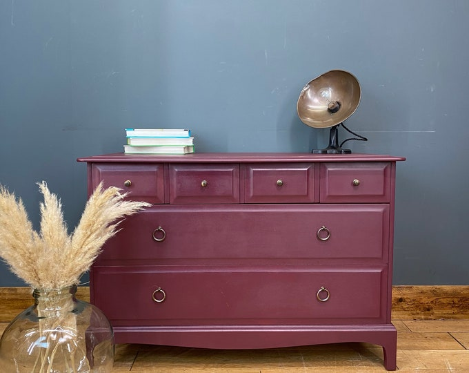 Retro Stag Chest Of Drawers / STAG Drawers / Vintage Bedroom Storage / Mulberry red / upcycled drawers / painted stag drawers
