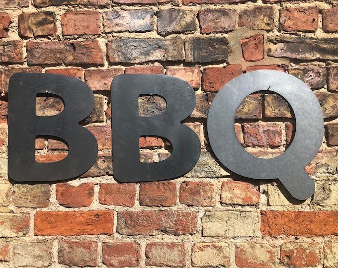 GARDEN BBQ SIGN , galvanised metal letters , home bar sign , garden sign , rustic lettering, bobble font lettering , bbq area sign