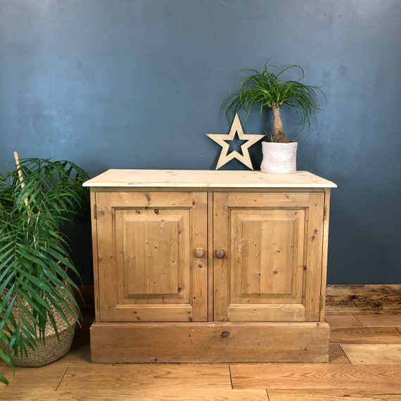 Boho Cupboard Room Rustic Vintage Pine Storage Tv Stand Shabby Chic