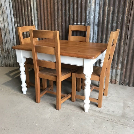 Beautiful Chunky Country Farmhouse Pine Kitchen Table And 4 Chairs Painted F&B