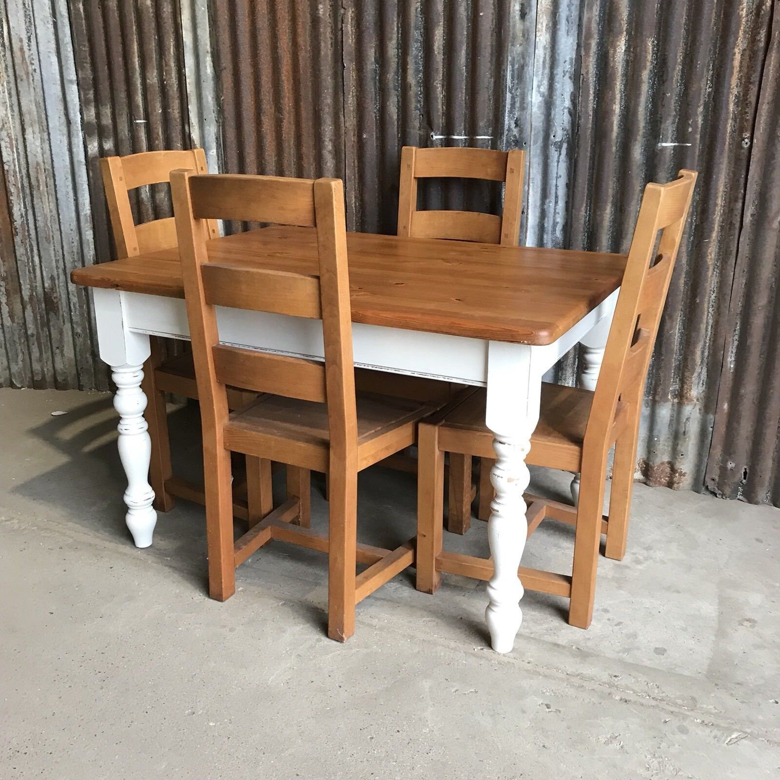 Beautiful Chunky Country Farmhouse Pine Kitchen Table And 4 ...